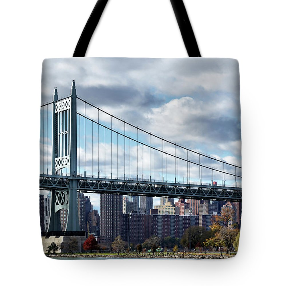 Astoria Tote Bag featuring the photograph Triboro Bridge In Autumn by Cate Franklyn