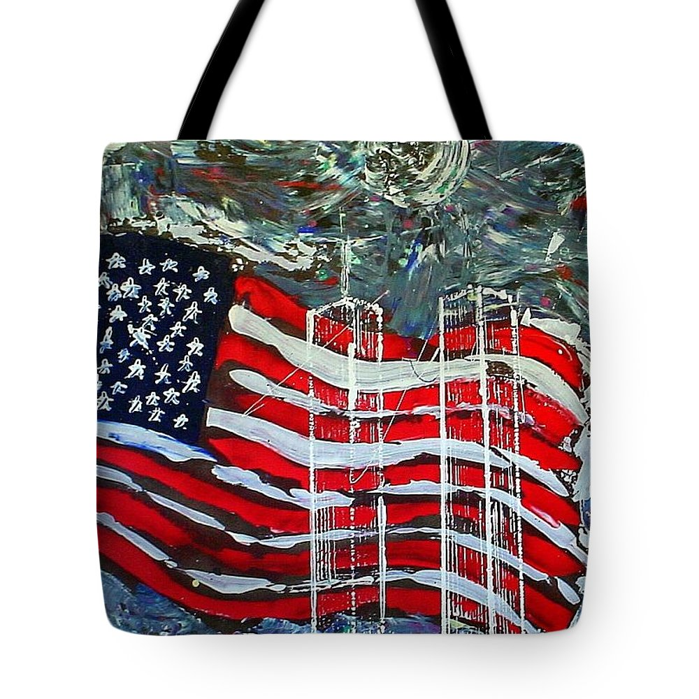 American Flag Tote Bag featuring the mixed media Tribute by J R Seymour
