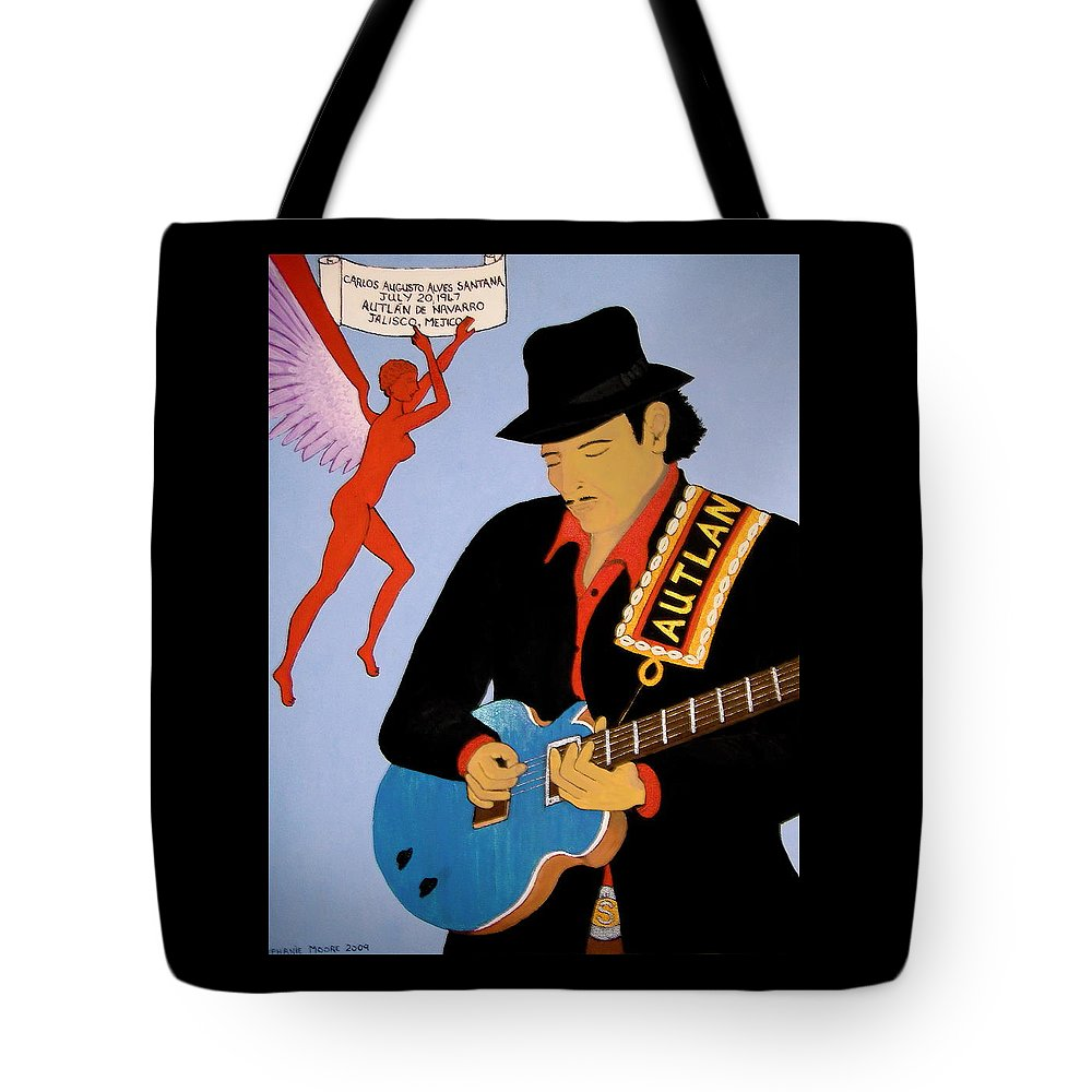 Carlos Santana Tote Bag featuring the painting Tribute To Carlos by Stephanie Moore