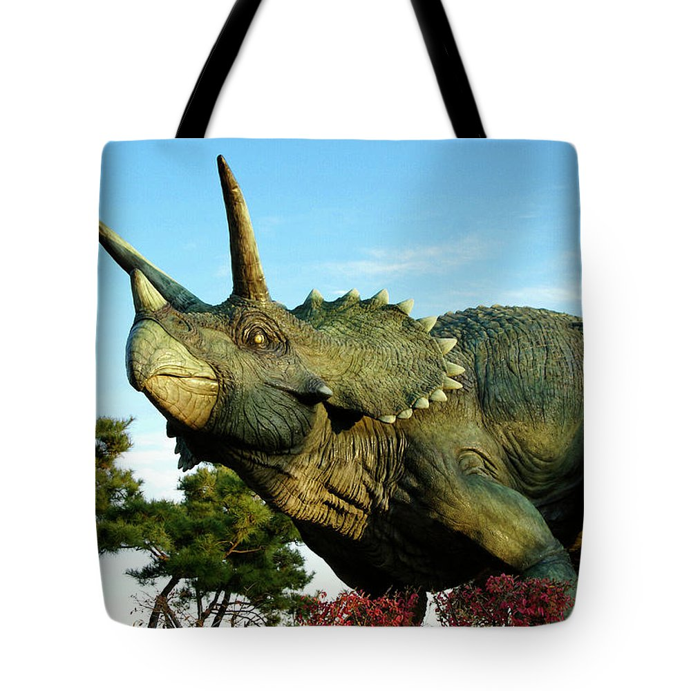 South Korea Tote Bag featuring the photograph Triceratops by Michele Burgess