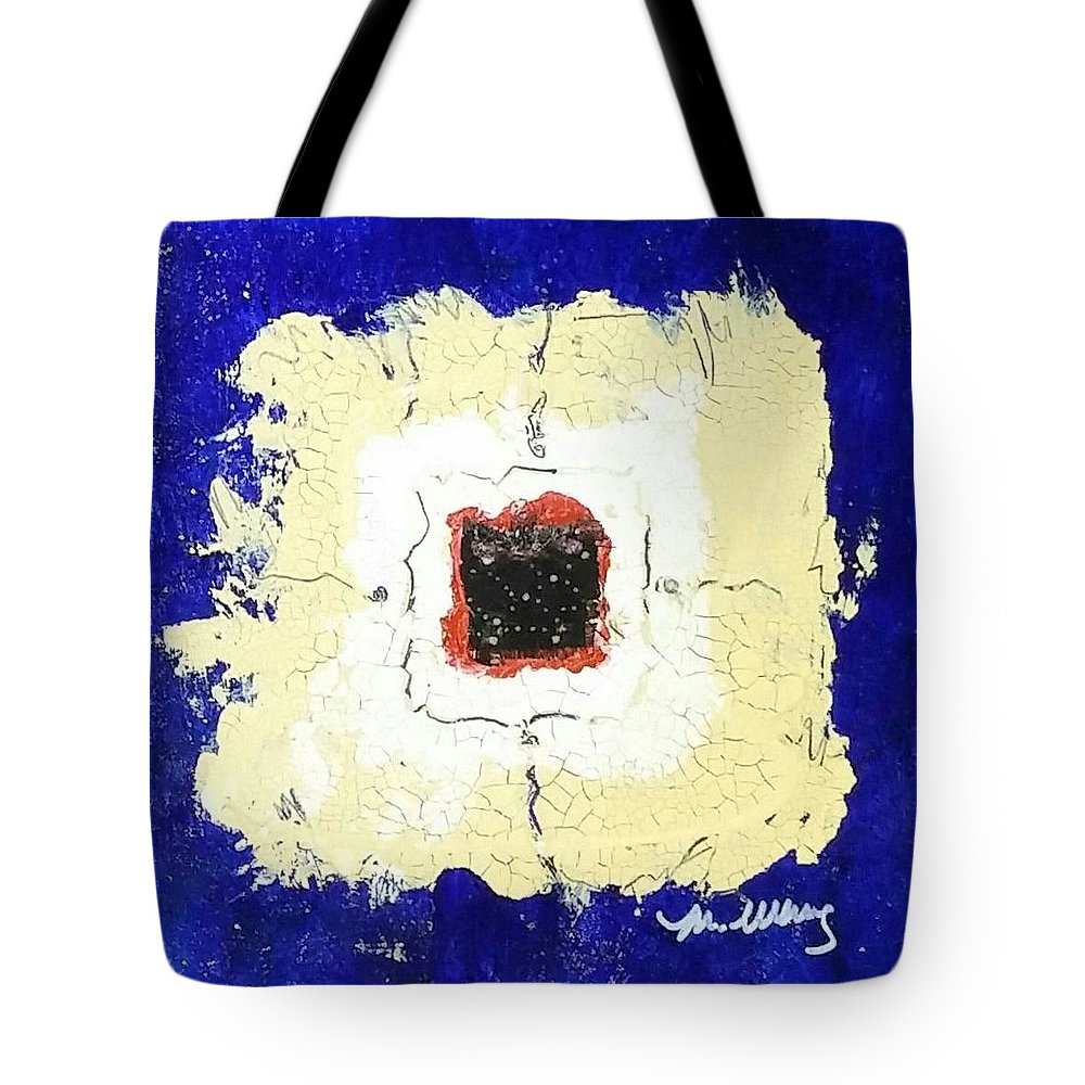 Mixed Media Tote Bag featuring the drawing Tricky by Martha Wherry