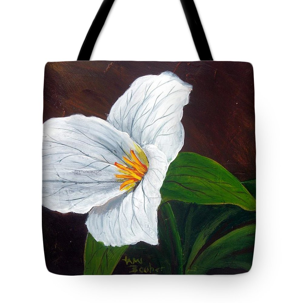 Nature Tote Bag featuring the painting Trillium by Tami Booher