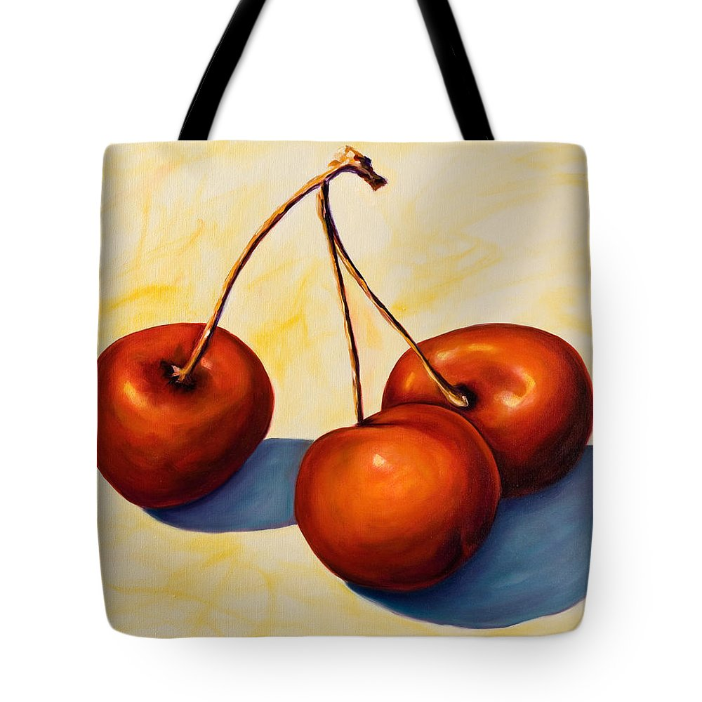 Cherries Tote Bag featuring the painting Trilogy by Shannon Grissom