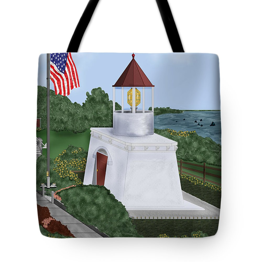 Trinidad Memorial Tote Bag featuring the painting Trinidad Memorial Lighthouse by Anne Norskog