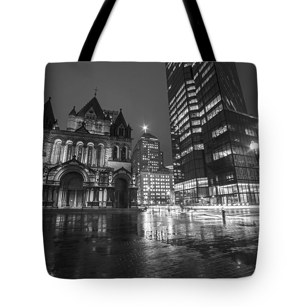 Trinity Tote Bag featuring the photograph Trinity Church John Hancock Tower Boston Ma Black And White by Toby McGuire