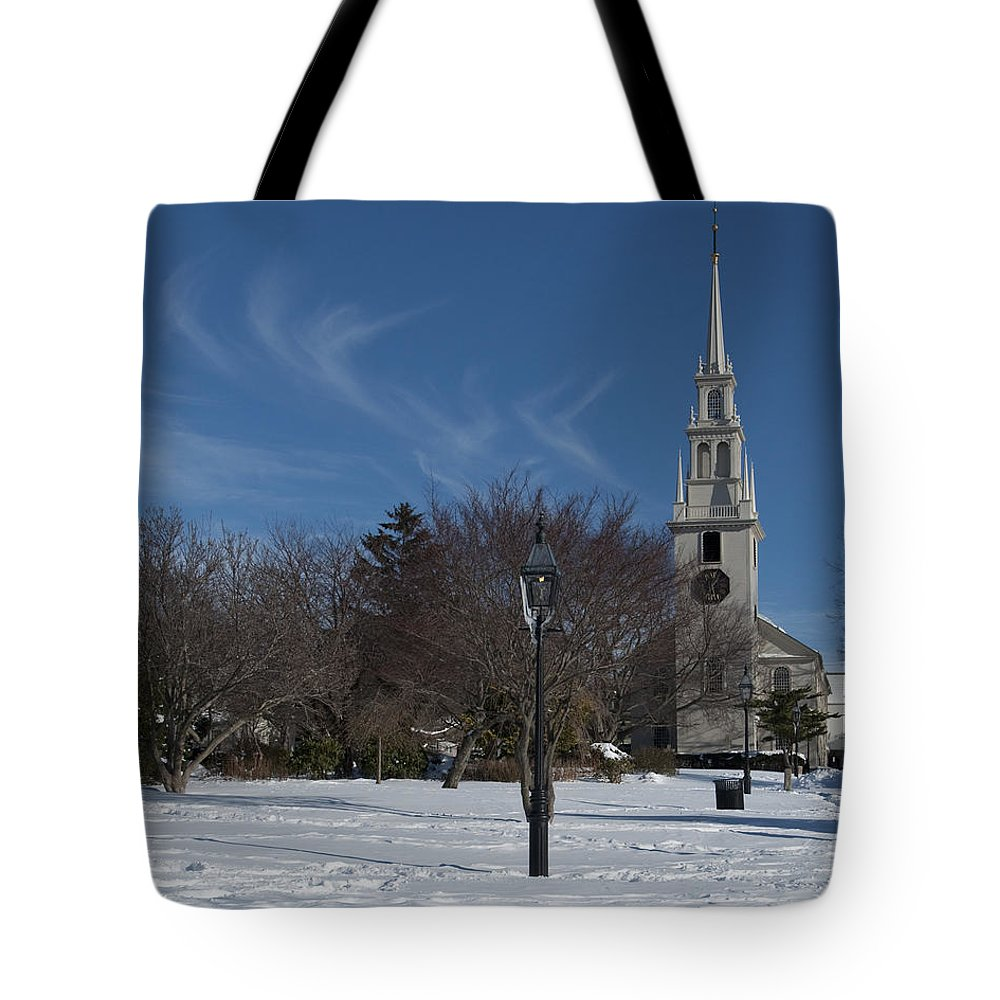 Photography Tote Bag featuring the photograph Trinity Church by Steven Natanson