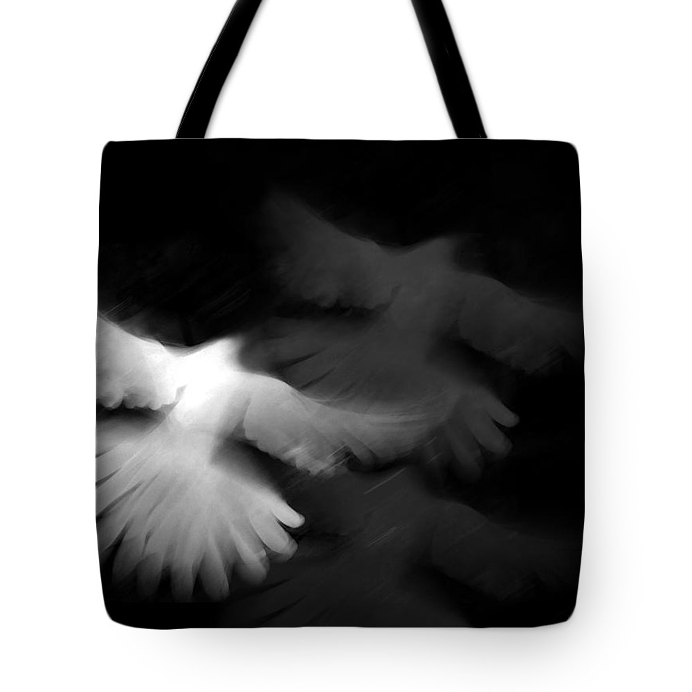 Black And White Tote Bag featuring the painting Trinity by Glennis Siverson