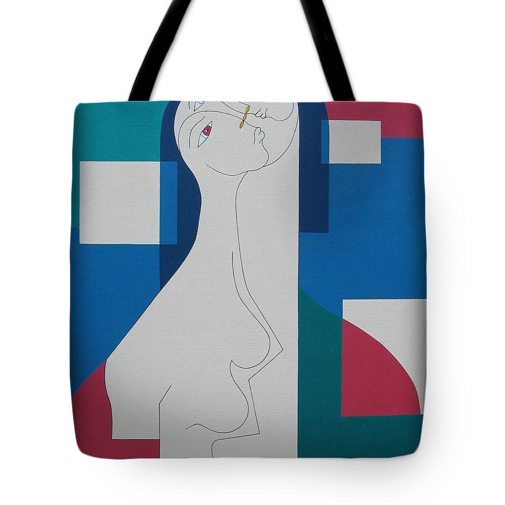 Modern Women Bleu Green Red Humor Tote Bag featuring the painting Trio by Hildegarde Handsaeme
