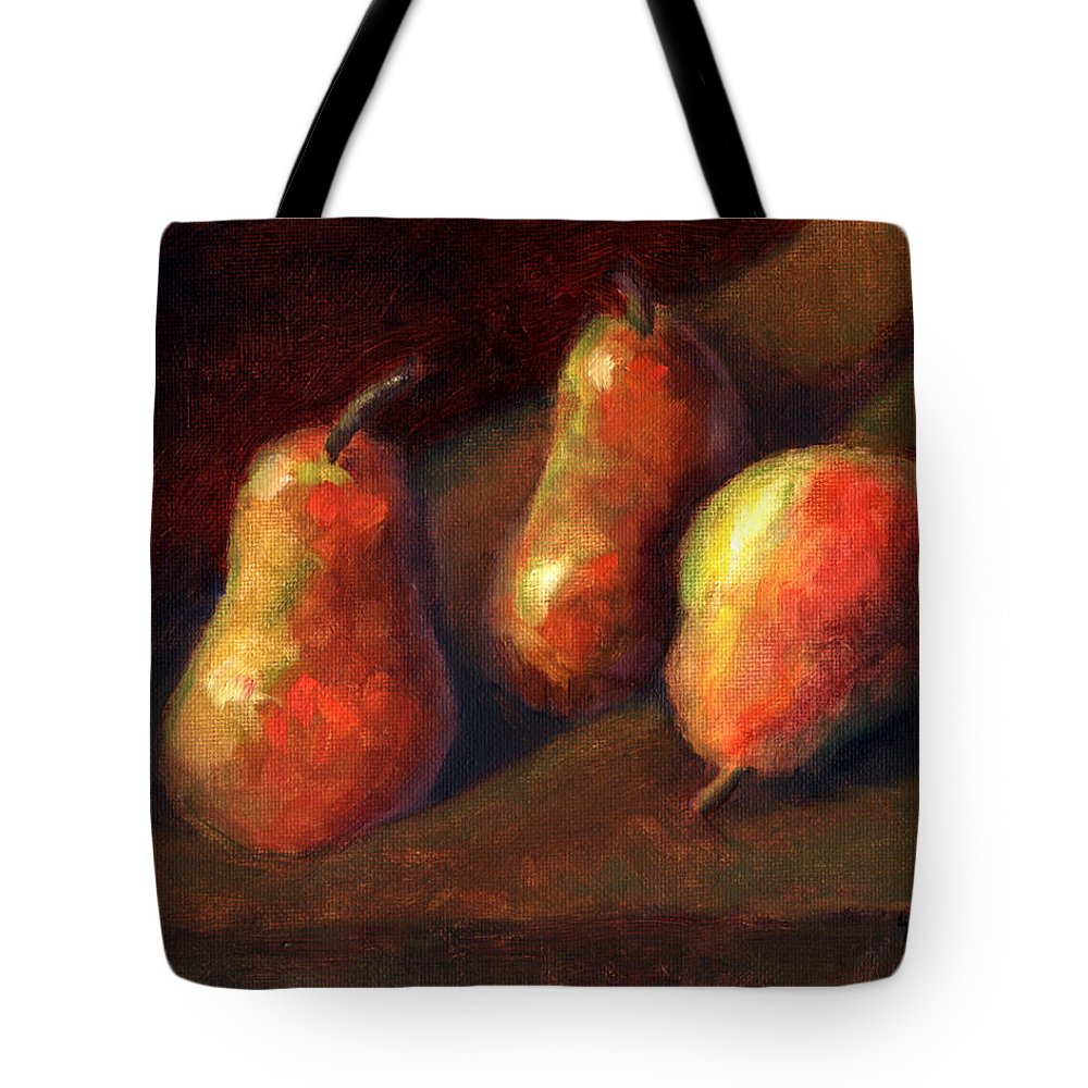 Fruit Tote Bag featuring the painting Trio by Linda Hiller