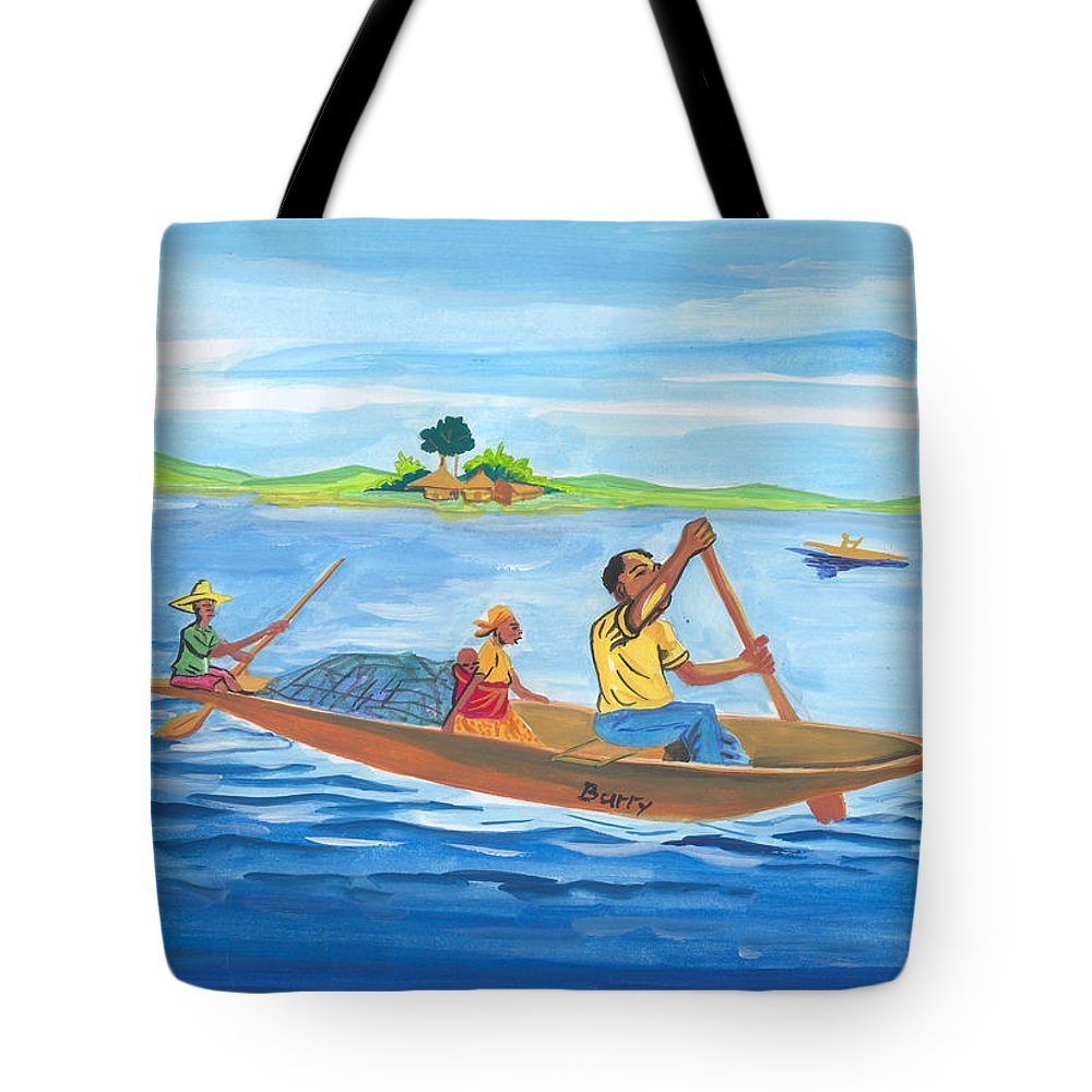 Landscapes Tote Bag featuring the painting Trip To Lake Kivu In Congo by Emmanuel Baliyanga