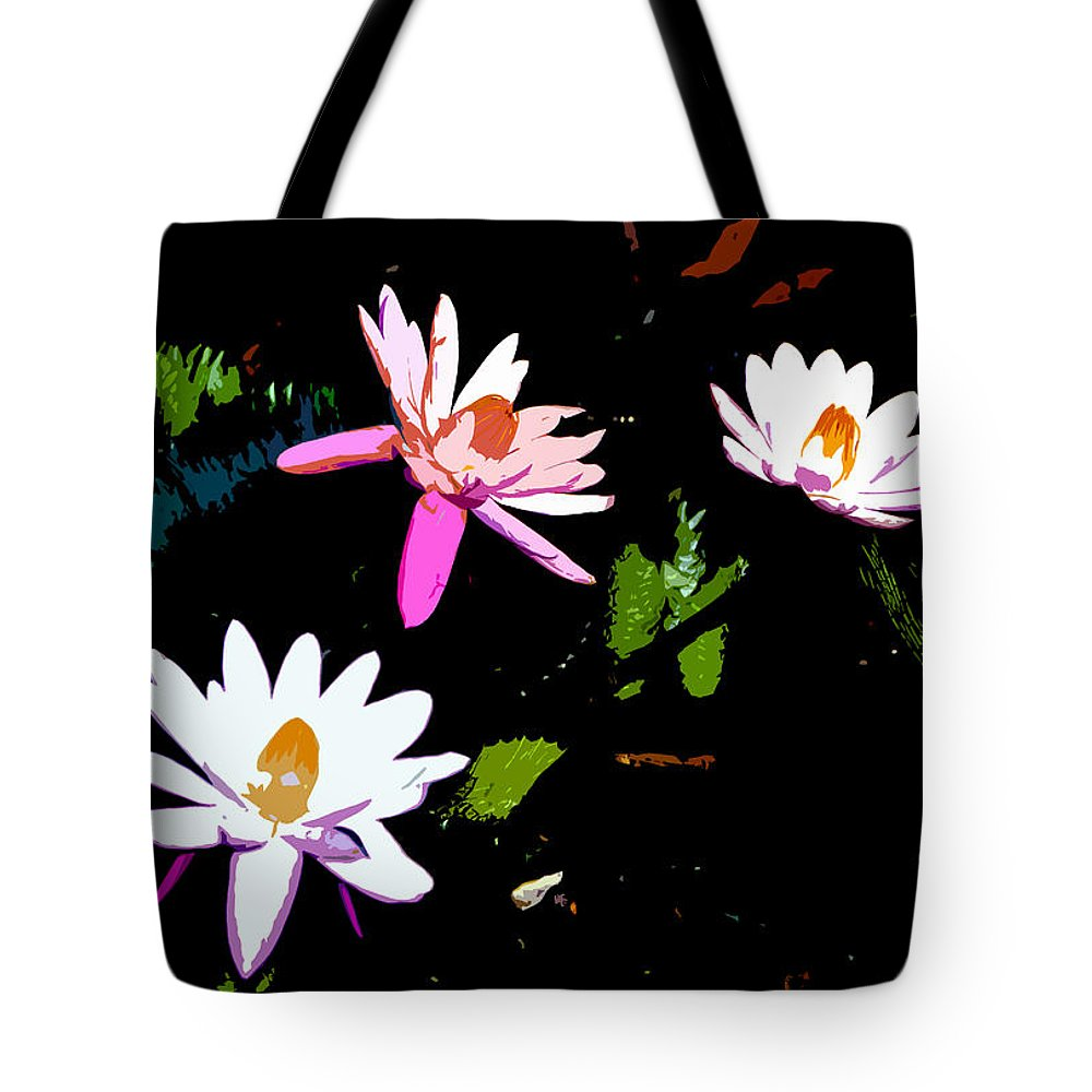 Flowers Tote Bag featuring the painting Triple Beauties by David Lee Thompson