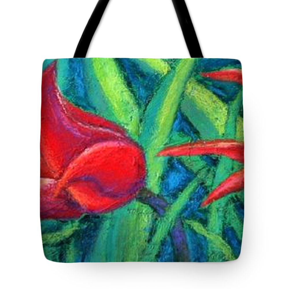 Tulips Tote Bag featuring the painting Triple Tease Tulips by Minaz Jantz