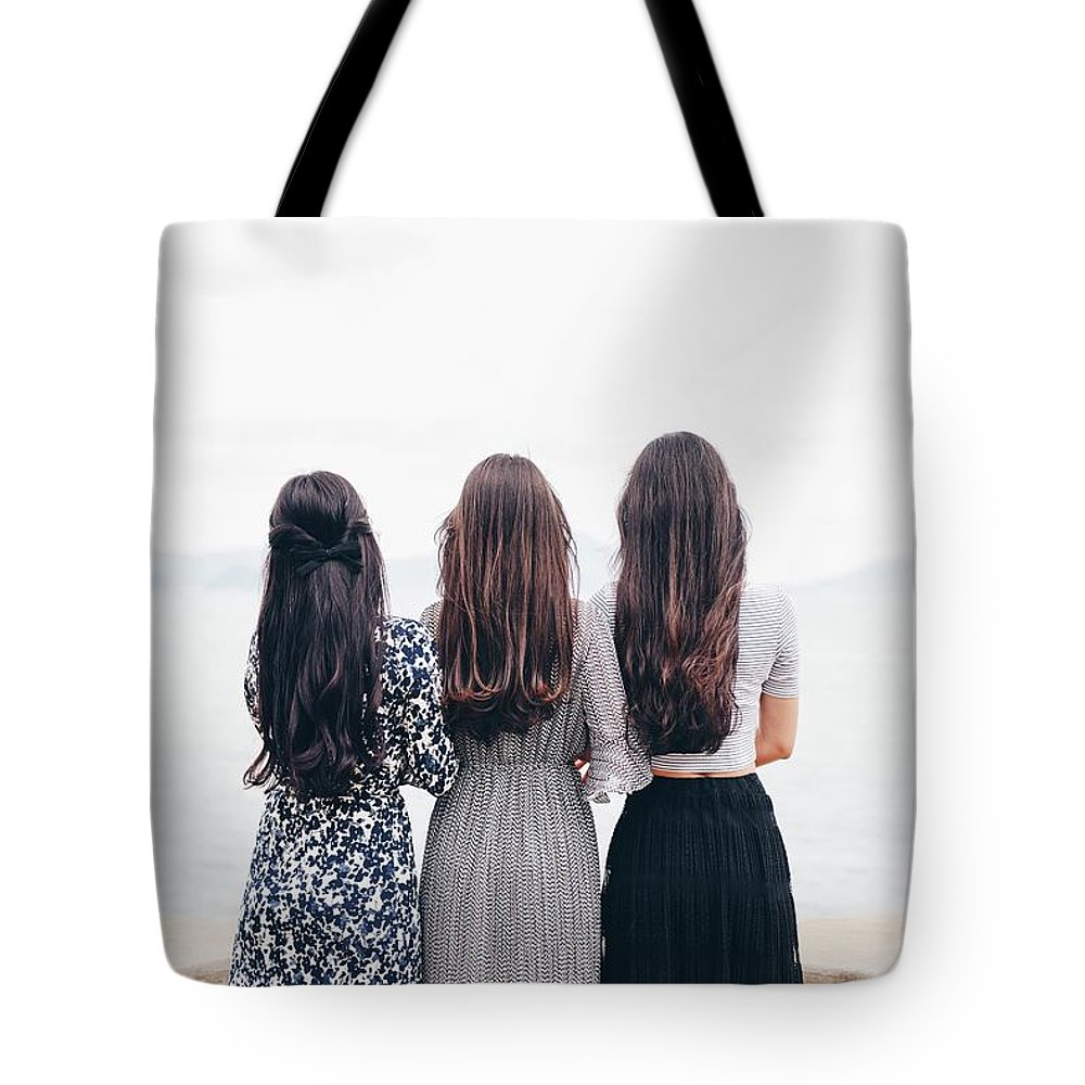 Girl Tote Bag featuring the photograph Triplets by Happy Home Artistry