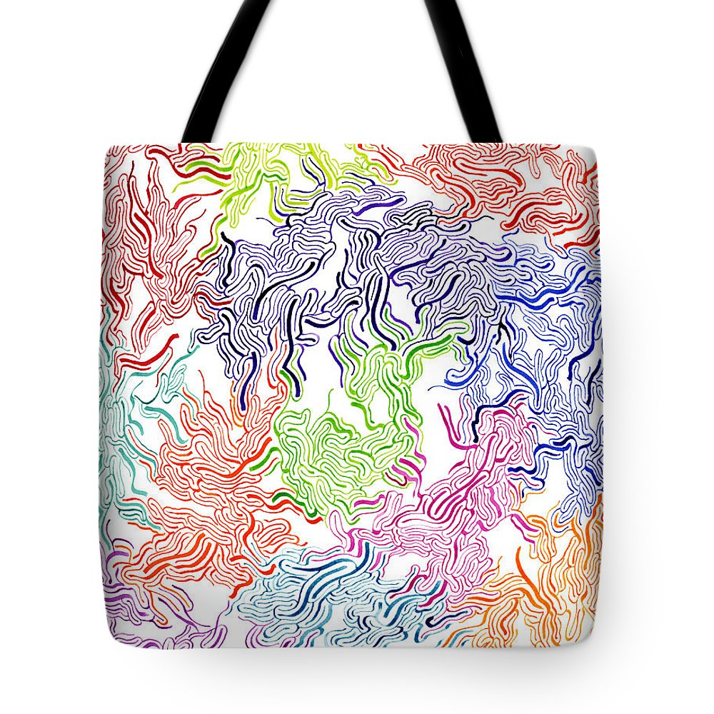 Mazes Tote Bag featuring the drawing Tripping by Steven Natanson