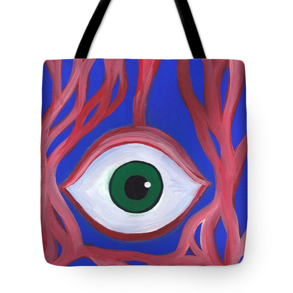 Trippy Eyeball Acrylic Horror Painting On Canvas Tote Bag