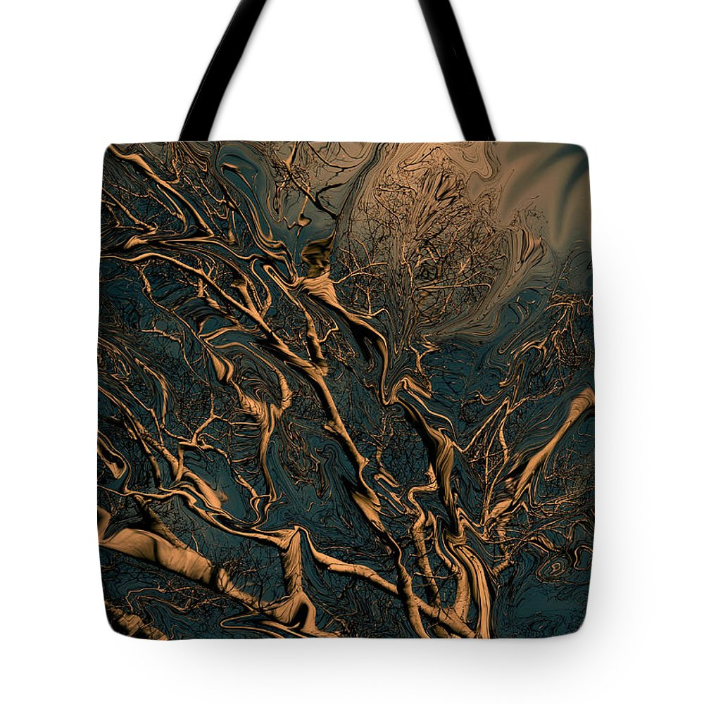 Trees Nature Abstract Digital Painting Tote Bag featuring the photograph Trippy Tree by Linda Sannuti