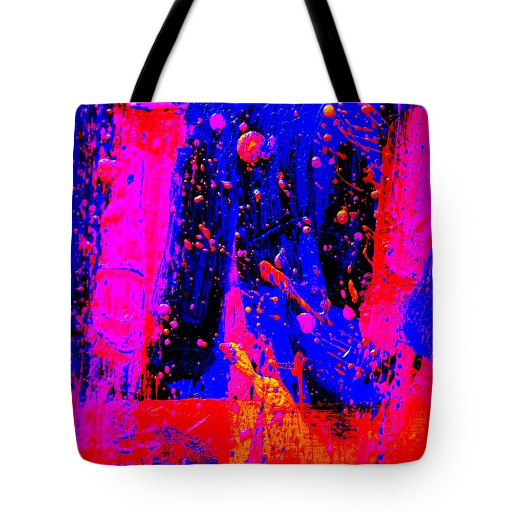 Abstract Tote Bag featuring the painting Triptych 2 Cropped by John Nolan