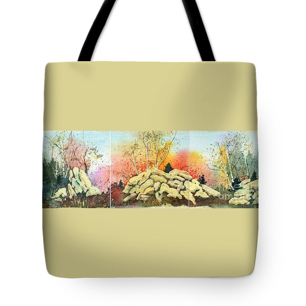 Landscape Tote Bag featuring the painting Triptych by Lynn Quinn