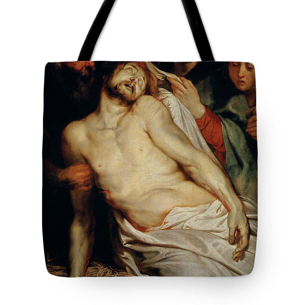 Triptych Of Christ On The Straw Tote Bag featuring the painting Triptych Of Christ On The Straw by Rubens