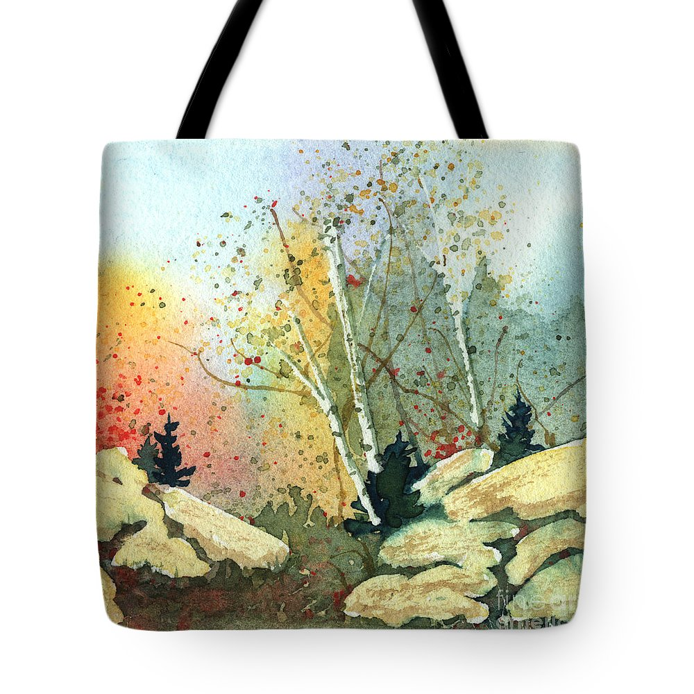 Landscape Tote Bag featuring the painting Triptych Panel 3 by Lynn Quinn