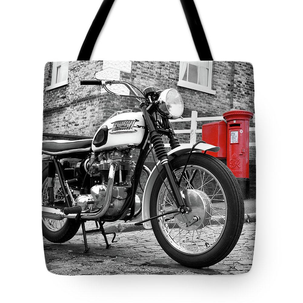 Motorcycle Tote Bag featuring the photograph Triumph Bonneville 1963 by Mark Rogan