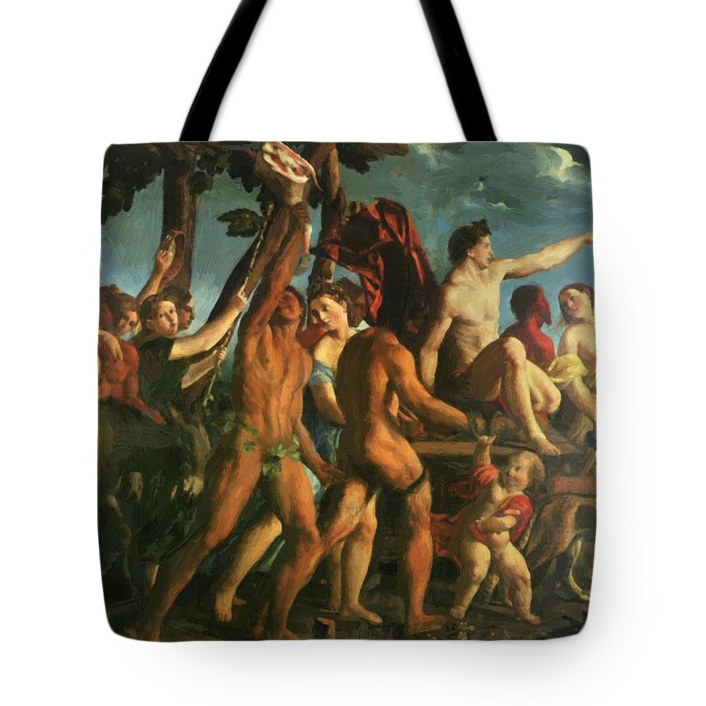 Triumph Tote Bag featuring the painting Triumph Of Bacchus 1514 by Dossi Dosso