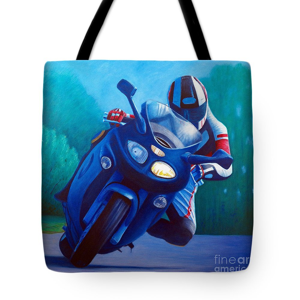 Motorcycle Tote Bag featuring the painting Triumph Sprint - Franklin Canyon by Brian Commerford