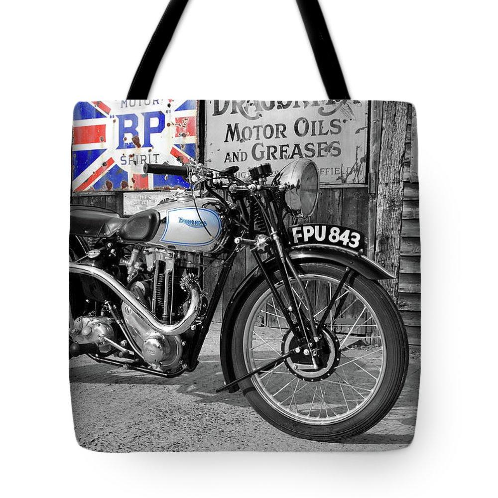 Triumph Tote Bag featuring the photograph Triumph Tiger 80 by Mark Rogan