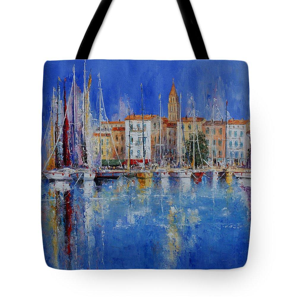 Ports Tote Bag featuring the painting Trogir - Croatia by Miroslav Stojkovic - Miro
