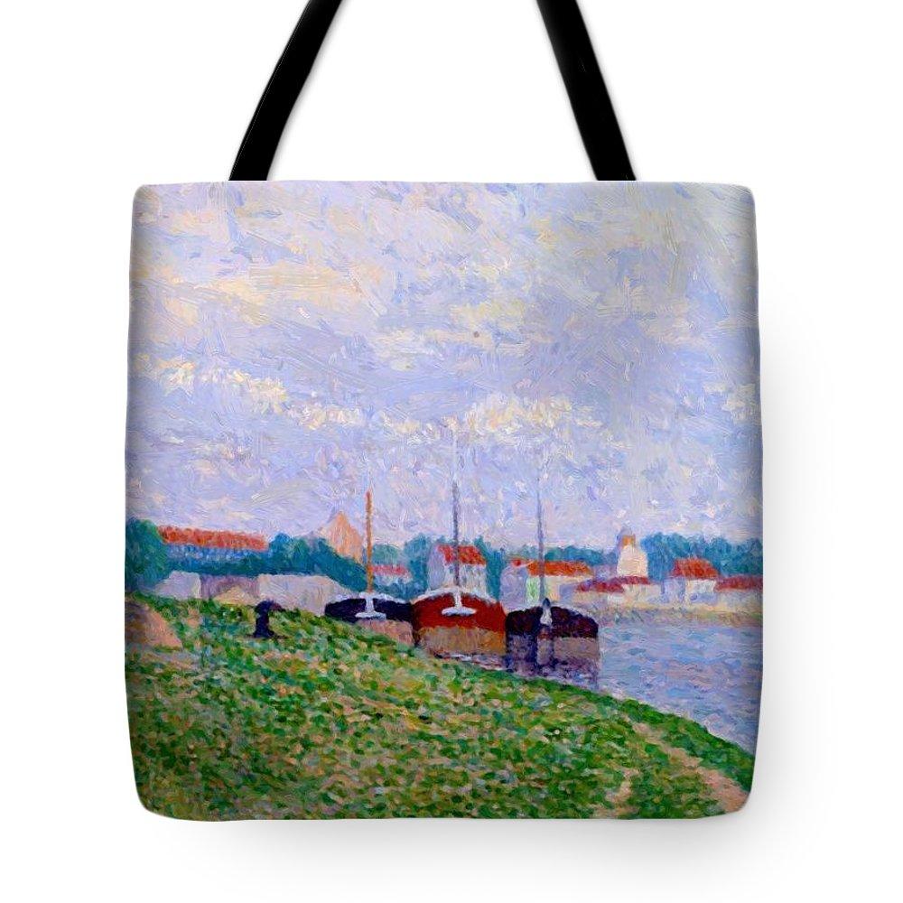 Trois Tote Bag featuring the painting Trois P Niches Amarr Es Aux Abords D Une Ville Industrielle 1886 by DuboisPillet Albert