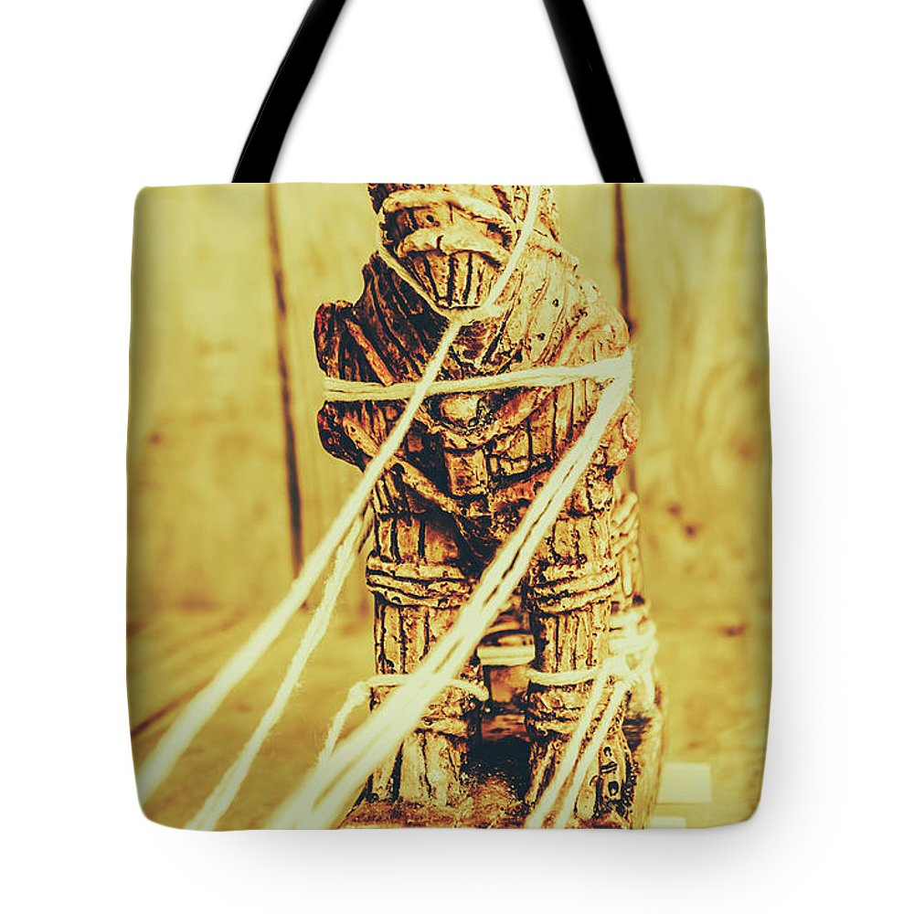 Trojan Horse Wooden Toy Being Pulled By Ropes Tote Bag for Sale by ...