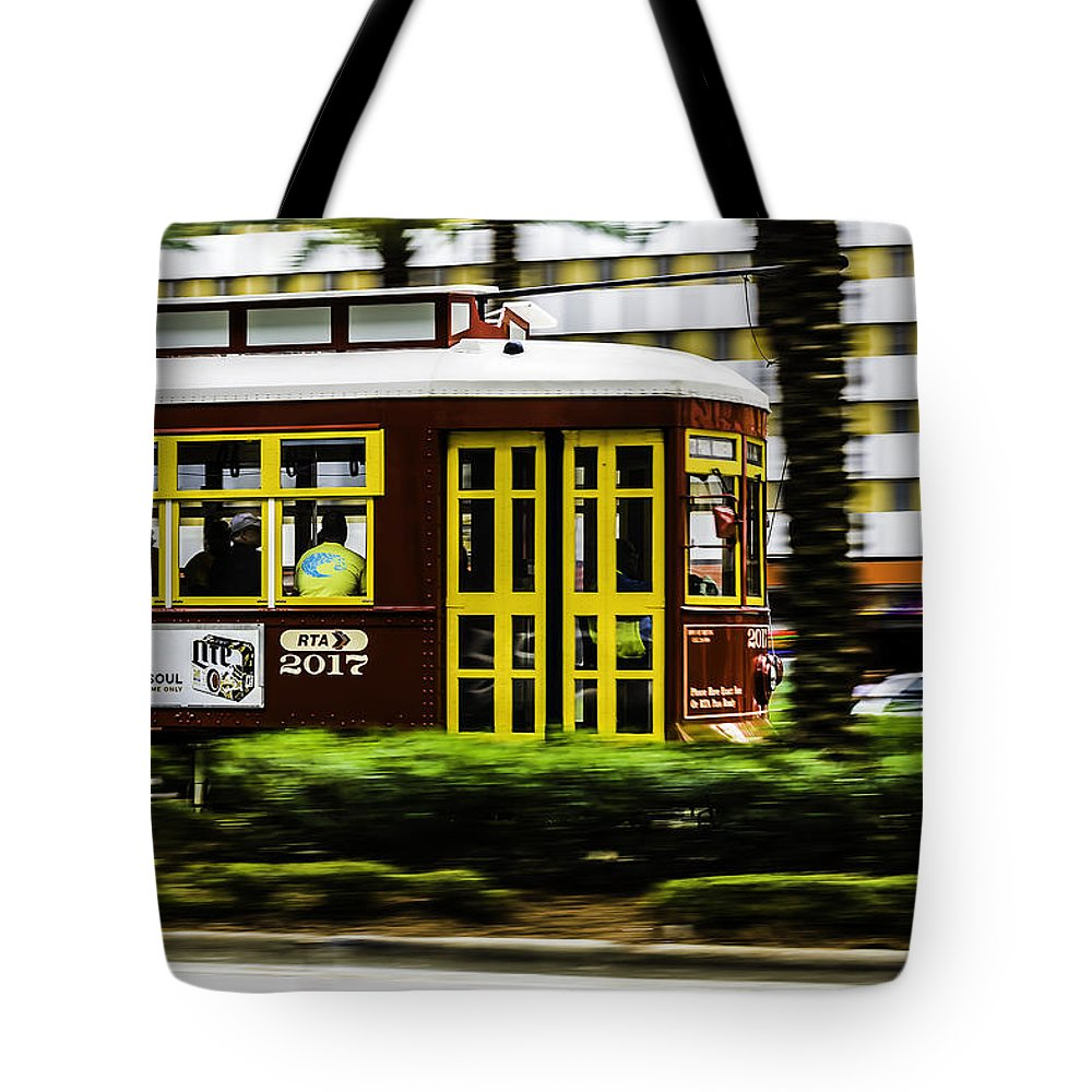 Trolley Tote Bag featuring the photograph Trolley Car In Motion, New Orleans, Louisiana by Chris Coffee