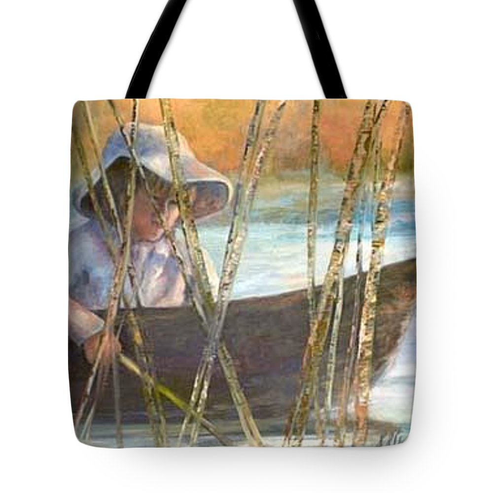 Boy Tote Bag featuring the painting Trolling by Sally Arroyo