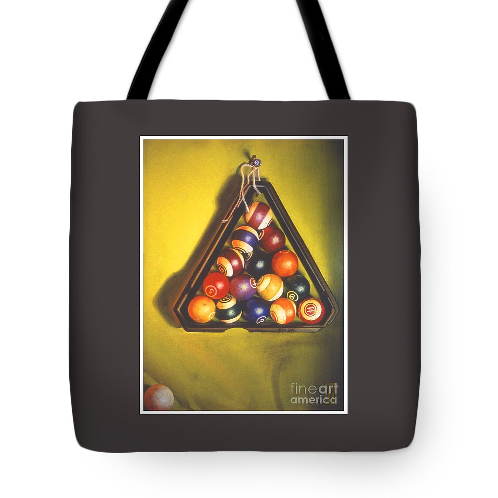 Pool Tote Bag featuring the painting Billiard Balls Tromp'ole by Melissa A Benson