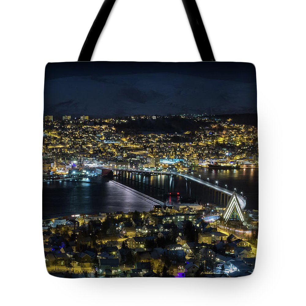 Tromsø Tote Bag featuring the photograph Tromso By Night by BBrave Photo