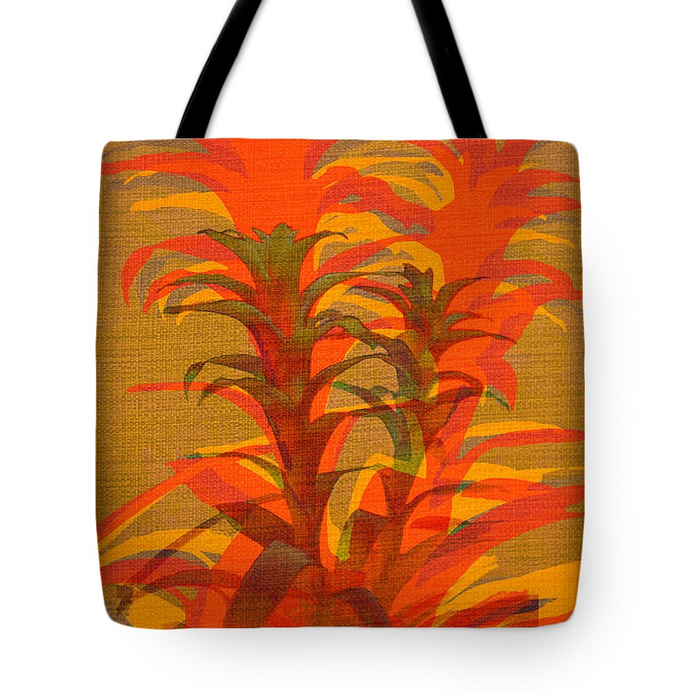 Tropical Plant Tote Bag featuring the photograph Syncopated Botanicals In Tangerine Orange by Suzanne Powers