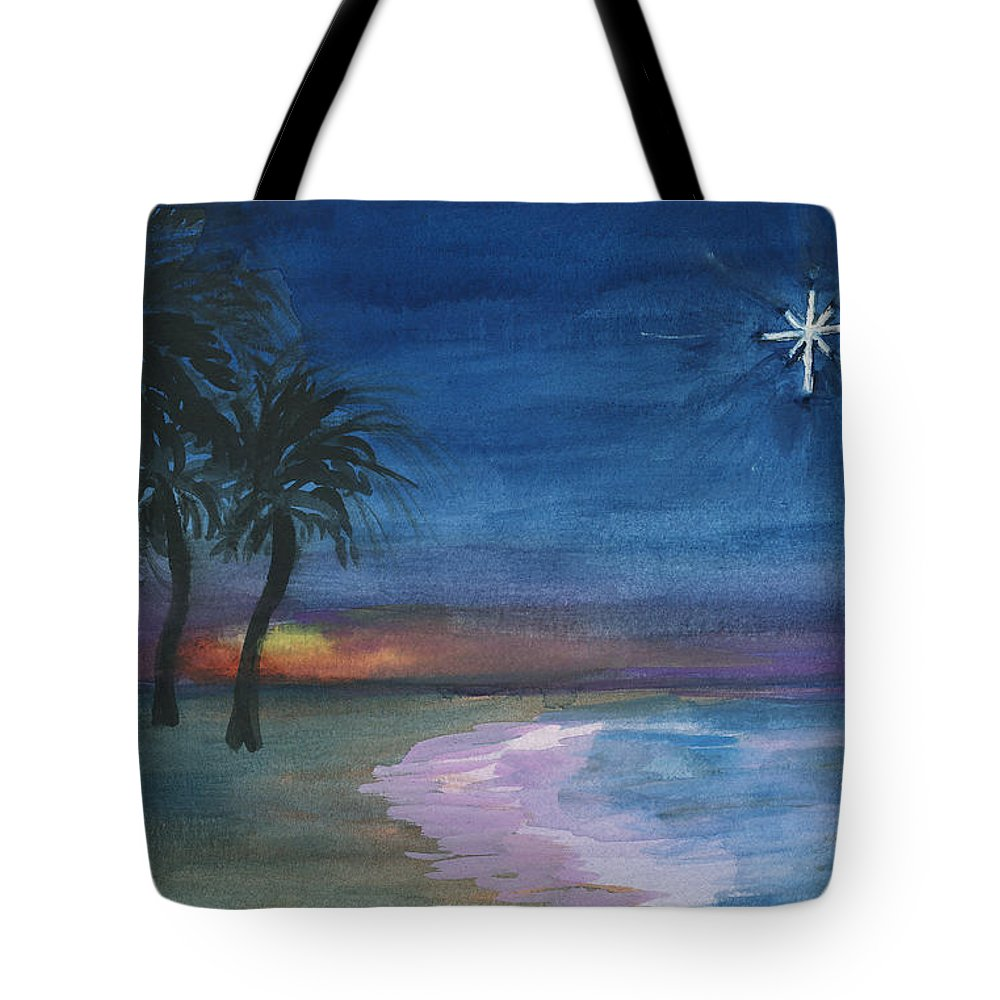 Palm Trees Tote Bag featuring the painting Tropical Christmas by Donna Walsh
