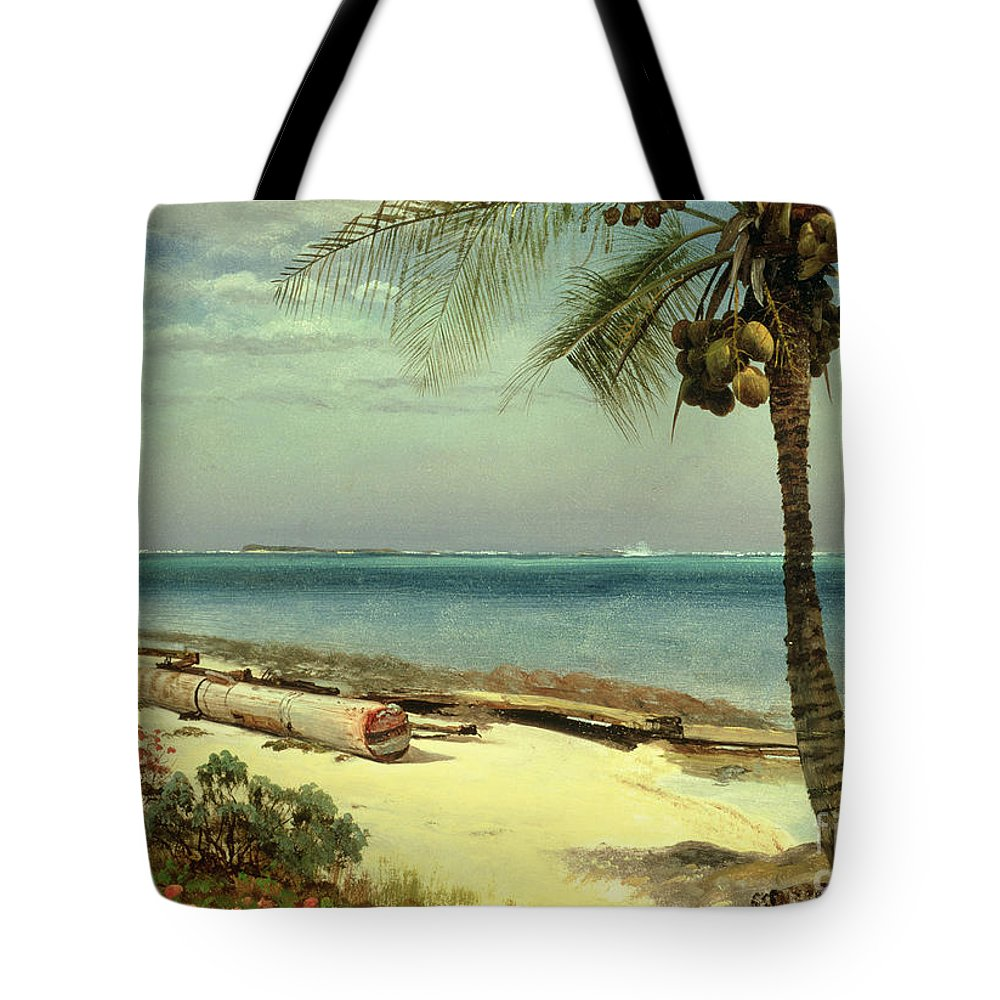 Shore; Exotic; Palm Tree; Coconut; Sand; Beach; Sailing Tote Bag featuring the painting Tropical Coast by Albert Bierstadt