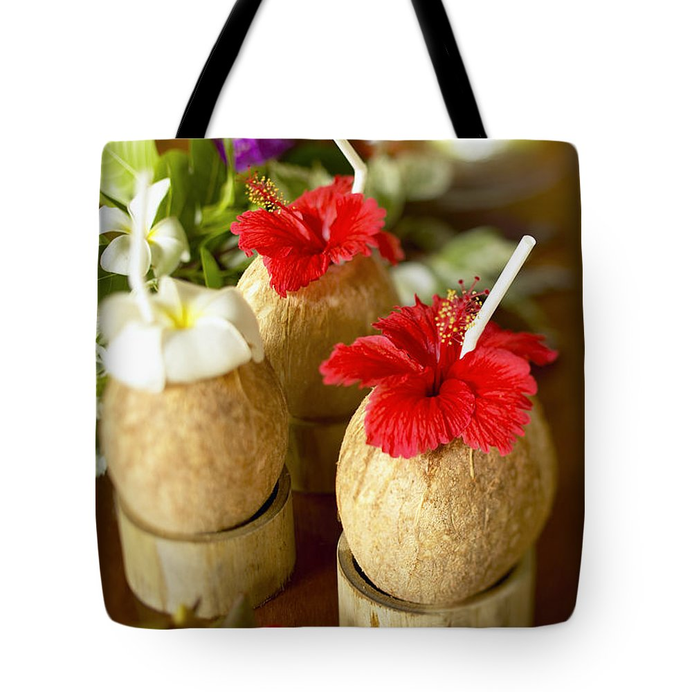 Bar Tote Bag featuring the photograph Tropical Cocktail by Kyle Rothenborg - Printscapes