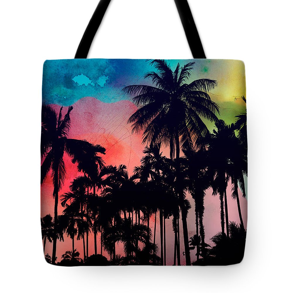 Tote Bag featuring the painting Tropical Colors by Mark Ashkenazi