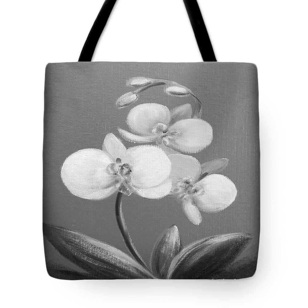 Original Tote Bag featuring the painting Tropical Elegance In Black And White by Gina De Gorna