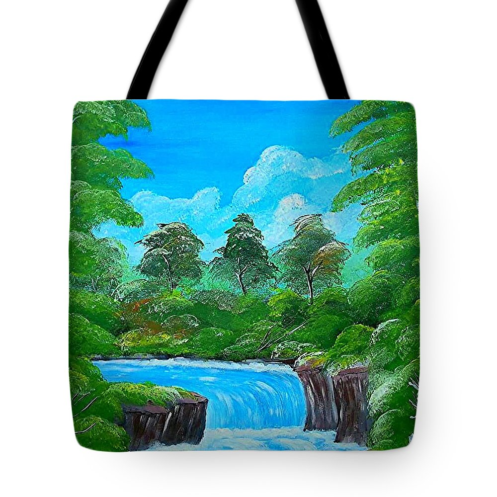 Water Falls Tote Bag featuring the painting Tropical Falls by Collin A Clarke