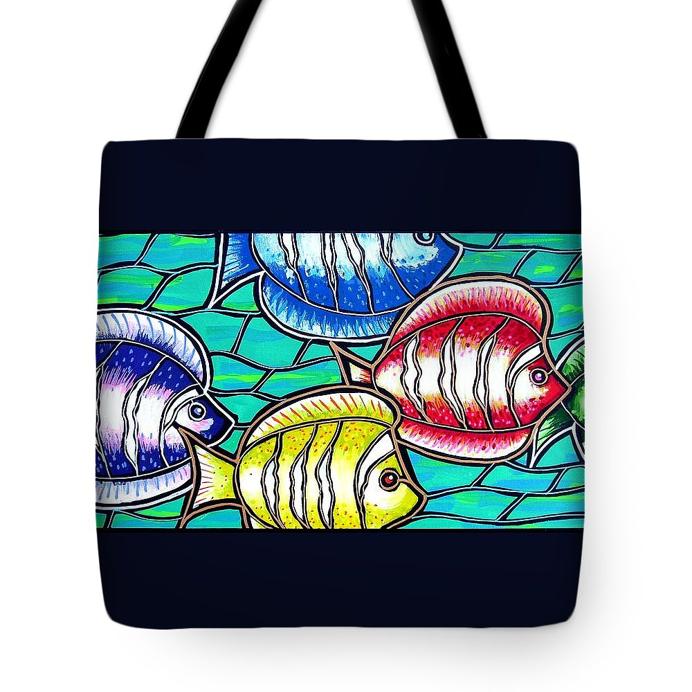 Fish Tote Bag featuring the painting Tropical Fish Swim by Jim Harris