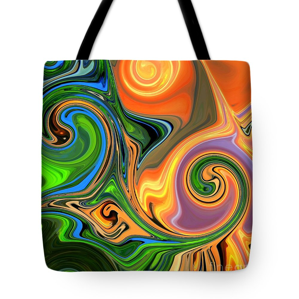 Abstract Tote Bag featuring the mixed media Tropical Fruit by Chris Butler