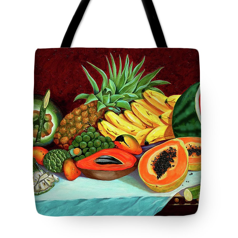 Coconut Tote Bag featuring the painting Tropical Fruits by Jose Manuel Abraham