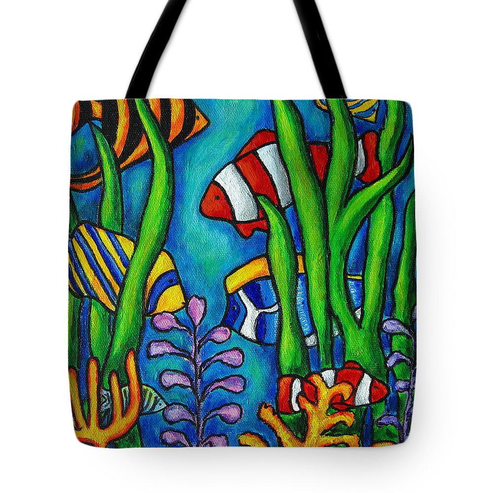 Tropical Tote Bag featuring the painting Tropical Gems by Lisa Lorenz