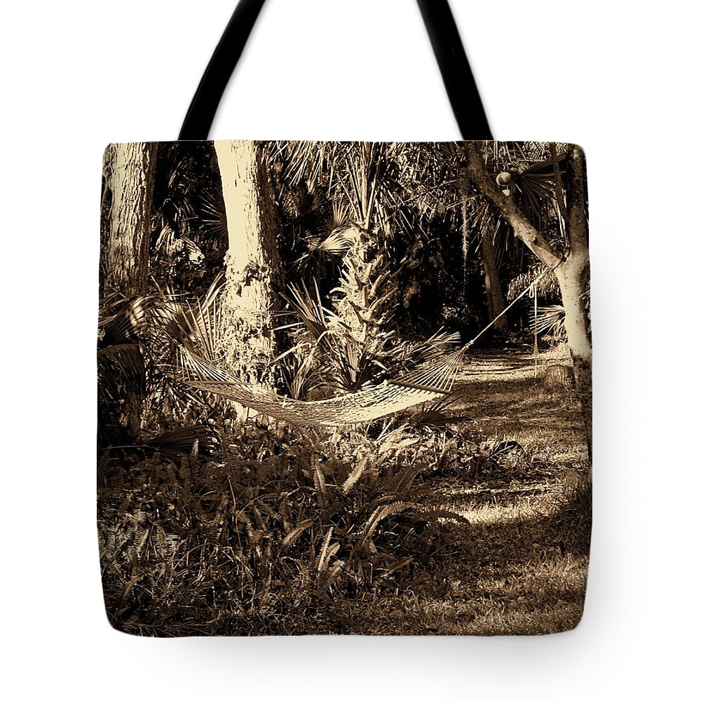 Hammock Tote Bag featuring the photograph Tropical Hammock by Susanne Van Hulst