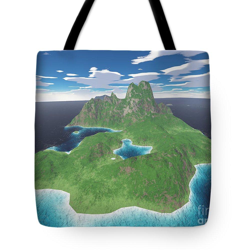 Aerial Tote Bag featuring the digital art Tropical Island by Gaspar Avila