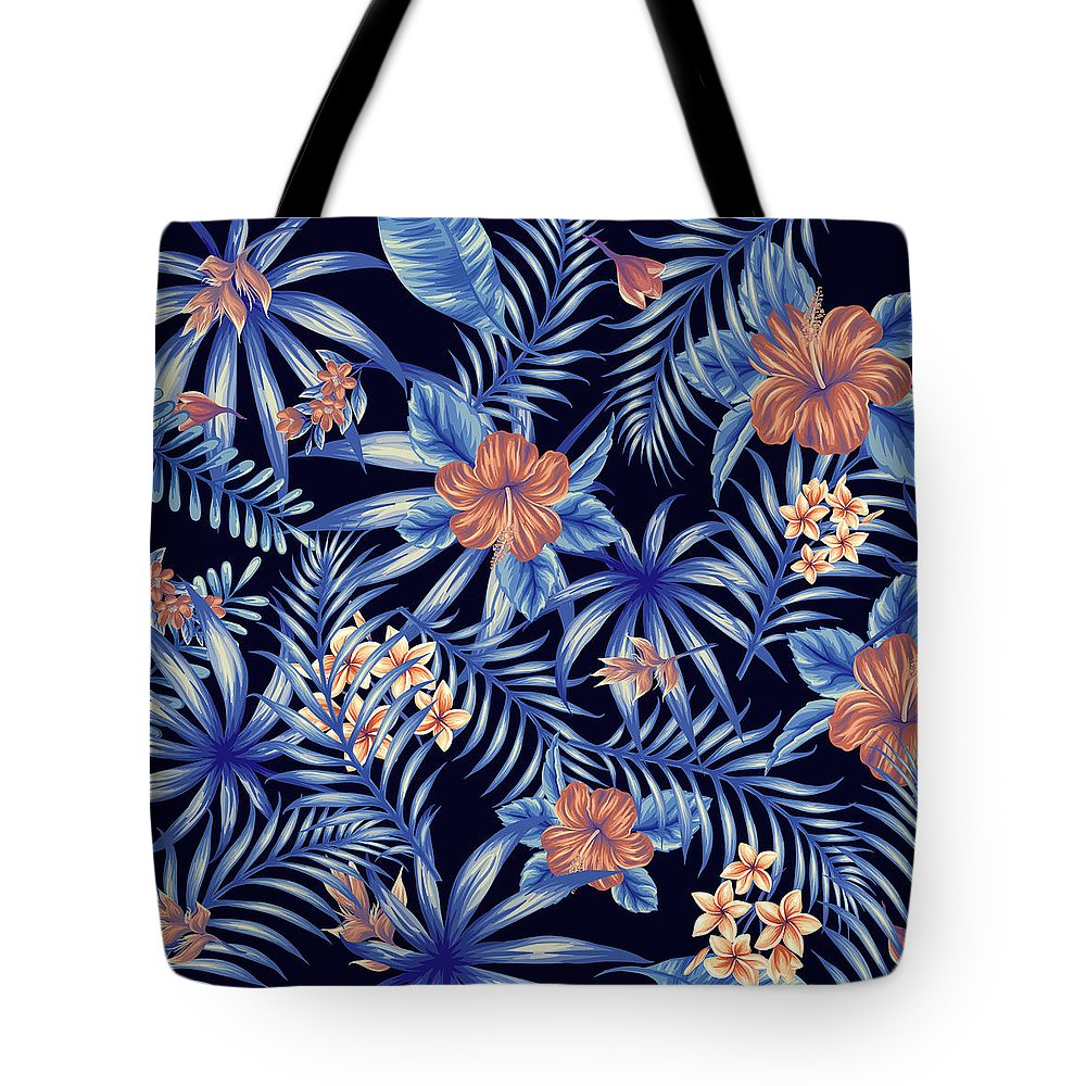 Tropical Tote Bag featuring the digital art Tropical Leaf Pattern 4 by Stanley Wong