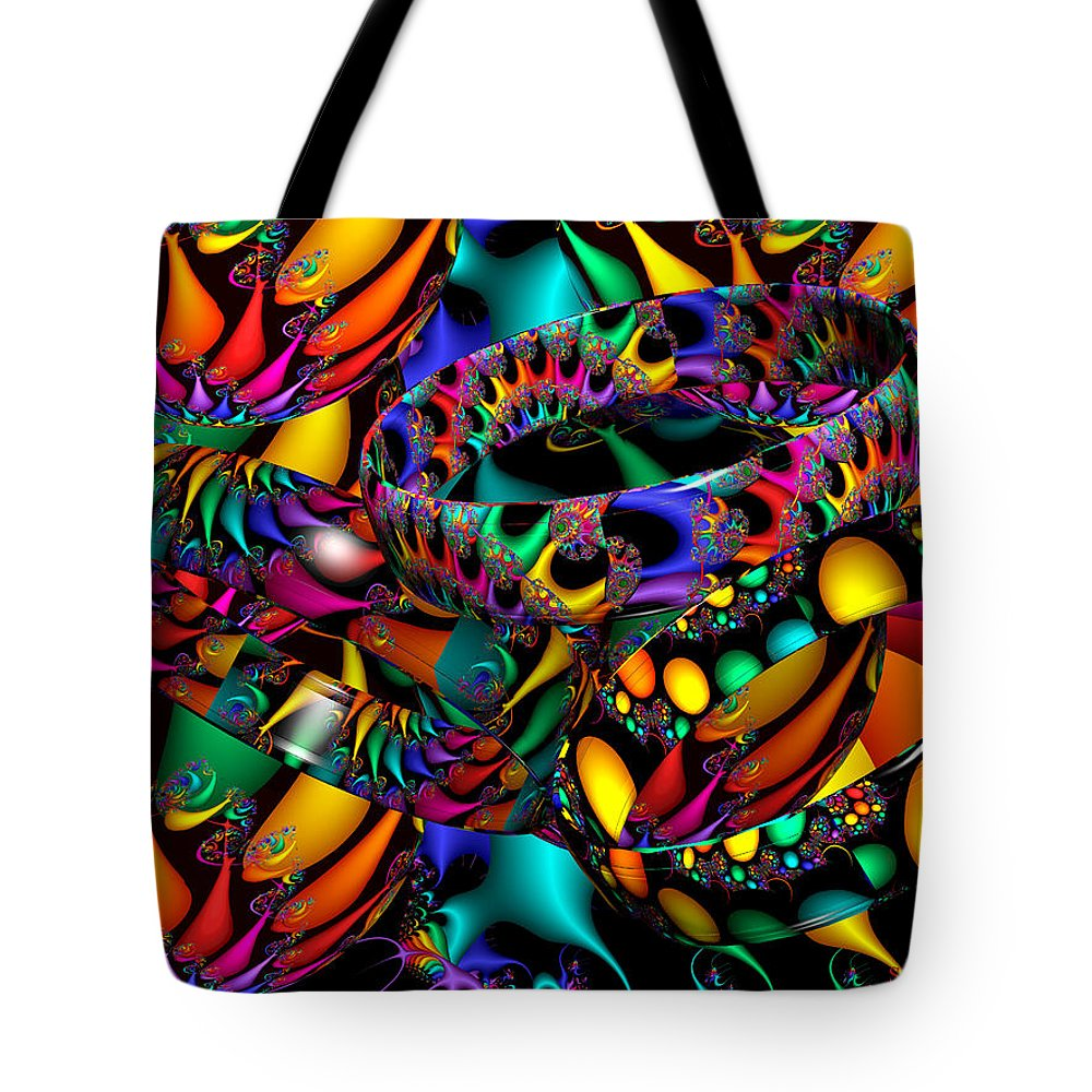 Colorful Tote Bag featuring the digital art Tropical Nights by Robert Orinski